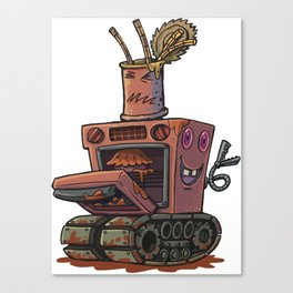 Robot pie thrower Canvas Print