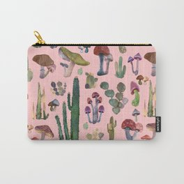 Mushrooms and Cactuson Pink Carry-All Pouch