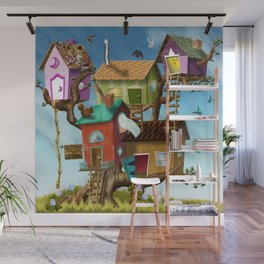 Home Sweet Tiny Tree Houses Wall Mural