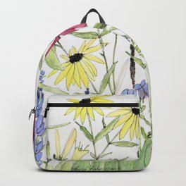 Flowers on White Painting Backpack