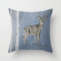 stag Throw Pillows featuring Stag  by Leanna Rosengren