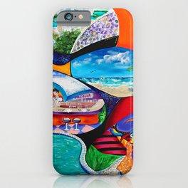 Isla del Encanto, Tainos, San Gerónimo, Condado, Puerto Rico painting-collage iPhone Case