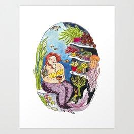 House Plant Loving Mermaid Art Print