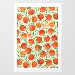 Winter Oranges | Cream Background Art Print