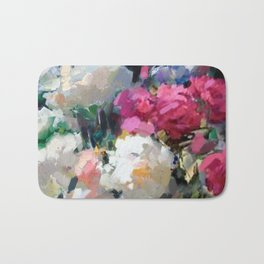 Still Life with White & Pink Roses Bath Mat