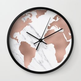 Marble World Map Rose Gold Pink Wall Clock