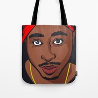 tupac Tote Bags featuring Tupac by Michael Walchalk