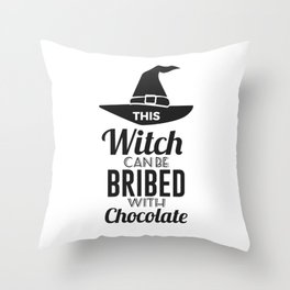Bribe Witch With Chocolate Candy Trick Or Treat Halloween Design Throw Pillow