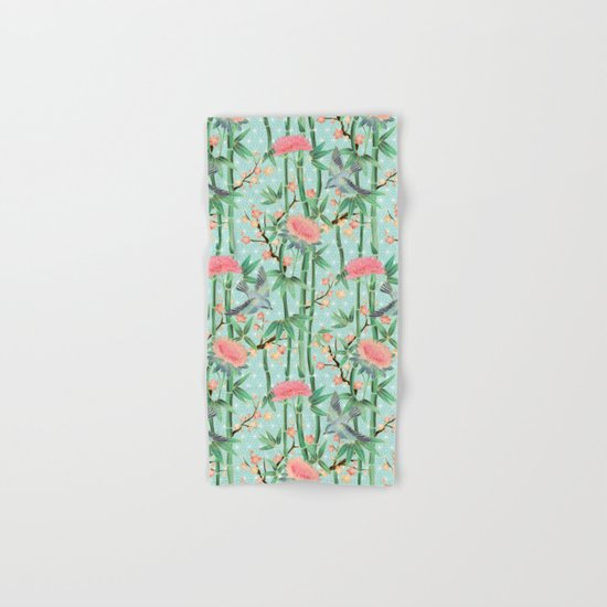 Bamboo, Birds and Blossom - soft blue green Hand & Bath Towel