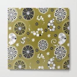 moss green paisley Metal Print