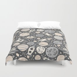 Space Black & White Duvet Cover