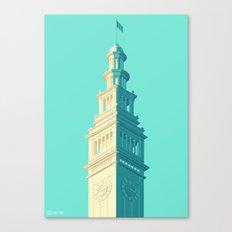 San Francisco Towers - 03 - Ferry Building (Teal/Sans Text) Canvas Print