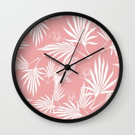 Parrot and Palms - very soft red Wall Clock