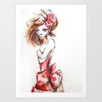sketch Art Prints featuring Sketch by Jaleesa McLean