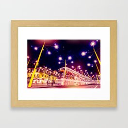 Night view of Station at  Graz , Austria. Framed Art Print
