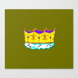 A Royal Crown with a Green Background Canvas Print