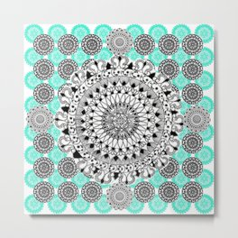 Black and Teal Patterned Mandalas Metal Print