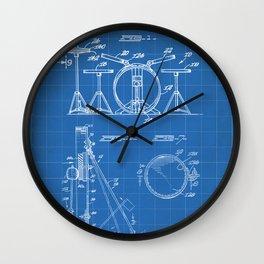 Drum Set Patent - Drummer Art - Blueprint Wall Clock