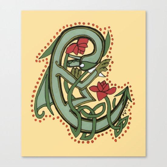 Celtic Dragon Letter C Canvas Print