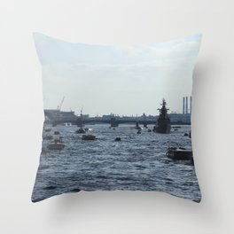 Huge water traffic on Neva River. Many passenger boats with Russian Navy Battleships and submarine. Throw Pillow