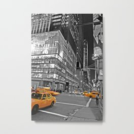 NYC - Yellow Cabs - CityLight Metal Print