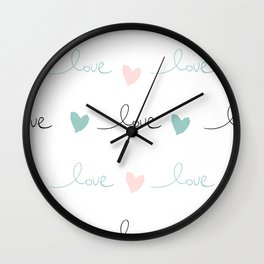 Love pink mint Wall Clock