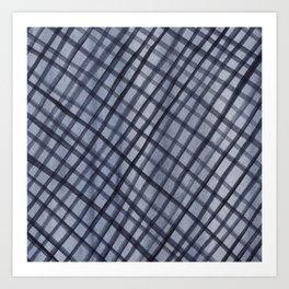 Black and Grey Watercolor Square Check Pattern Abstract Art Print