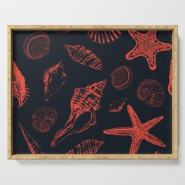 Underwater creatures in red and dark blue Serving Tray