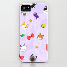 Cat Pattern Purple iPhone Case