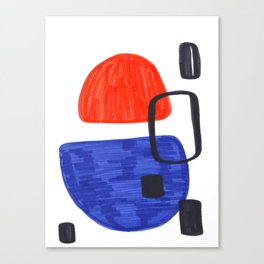 Mid Century Modern Abstract Minimalist Art Colorful Shapes Vintage Retro Style Orange Blue Shapes Canvas Print