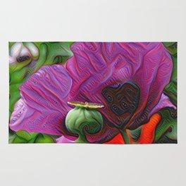 DeepDream Flowers, Poppy, DeepDream style Rug