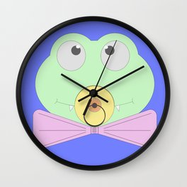 Little baby crocodile (cub) with a bow tie and a pacifier Wall Clock