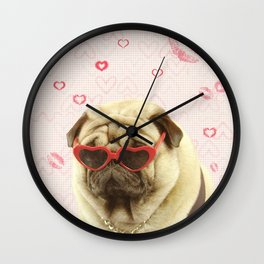 Pug face sunglasses,pugs and kisses Wall Clock