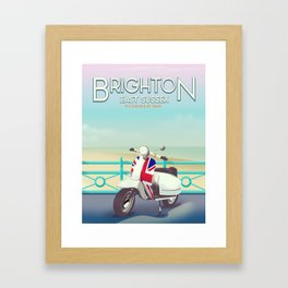 Brighton Union Scooter travel poster, Framed Art Print
