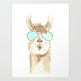 Aviator Llama Watercolor Art Print