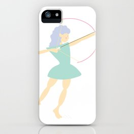 Forest Girl with bow and arrow, green iPhone Case