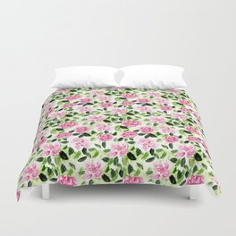 Pink and Green Garden Floral Pattern Duvet Cover