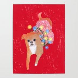 Dog in Pink Flower Dress Poster