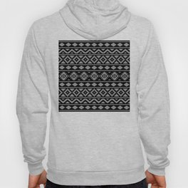 Aztec Essence Ptn III Grey on Black Hoody