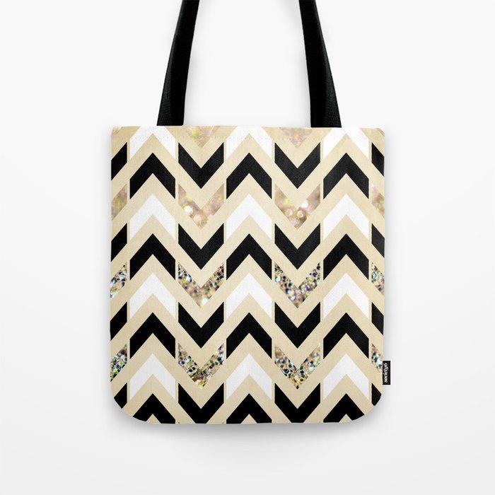 Black, White & Gold Glitter Herringbone Chevron on Nude Cream Tote Bag