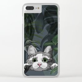 Jungle cat at night Clear iPhone Case