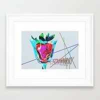 strawberry Framed Art Prints featuring Strawberry by LoRo  Art & Pictures