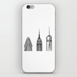 New York City Iconic Buildings-Empire State, Flatiron, One World Trade iPhone Skin
