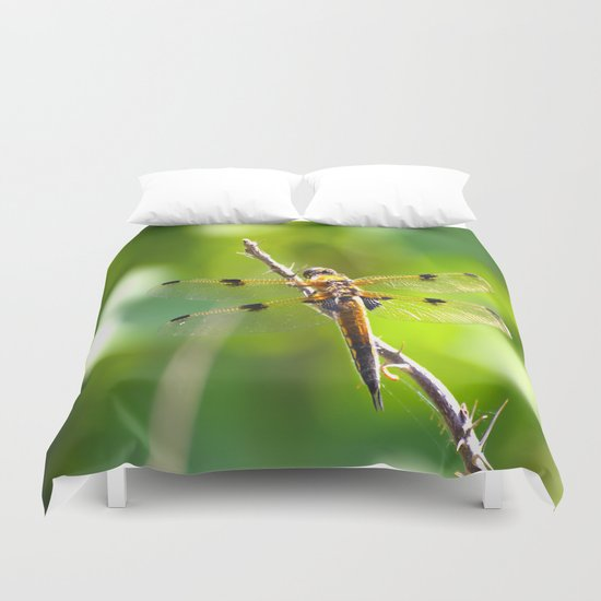 Dragonfly On A Branch Of A Rose Duvet Cover