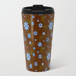 Dainty Blue Flower on Brown Background Travel Mug