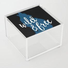 Wild & Free - Navy Howling Wolf Acrylic Box