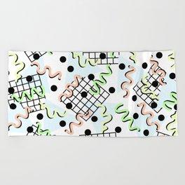 Retro Memphis 80's Disco Confetti Design Pattern Beach Towel