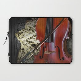 Cello with Bow a Stringed Instrument with Classical Sheet Music Laptop Sleeve