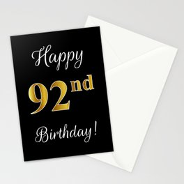 """Elegant """"Happy 92nd Birthday!"""" With Faux/Imitation Gold-Inspired Color Pattern Number (on Black) Stationery Cards"""