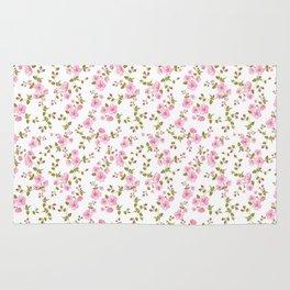 Vintage girly pink bohemian floral illustration Rug